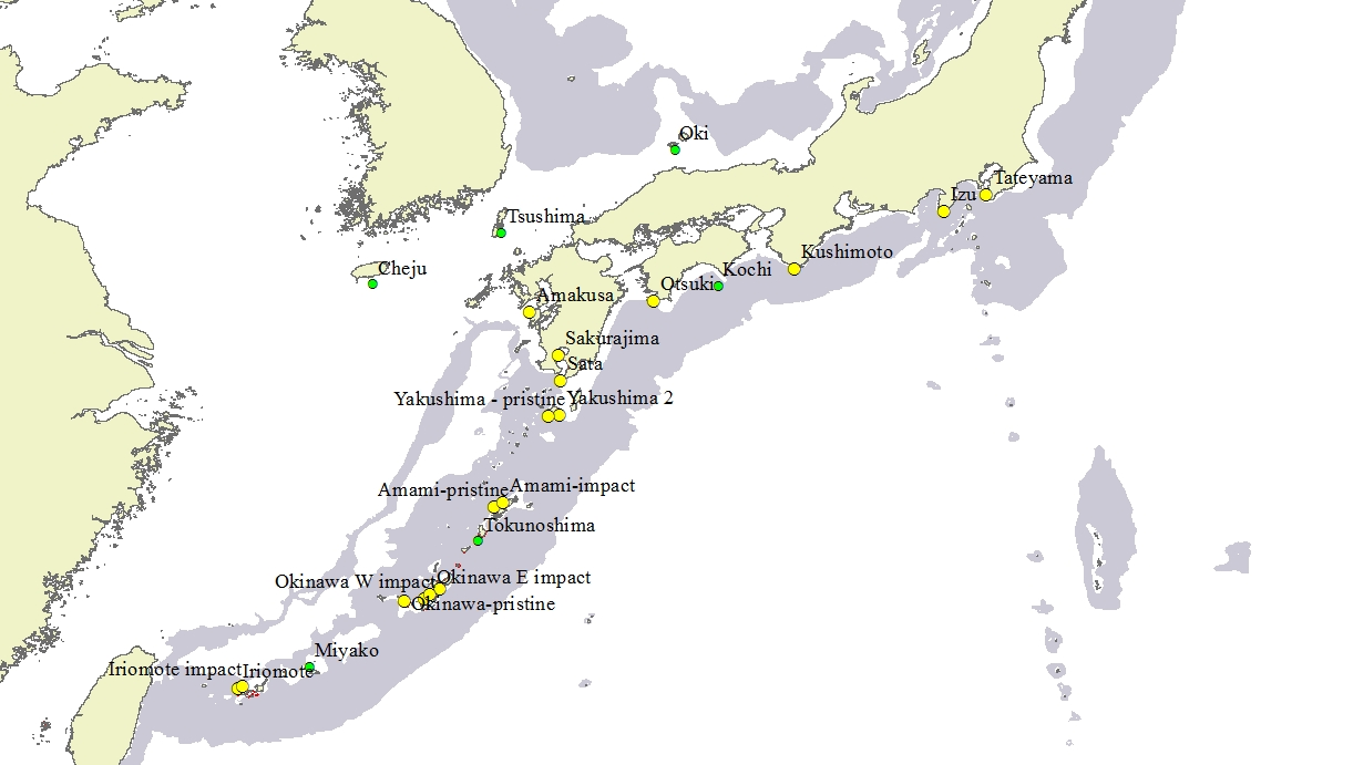 Tropical To Temperate Coral Reefs In Japan M A R I A B E G E R - Japan map yakushima
